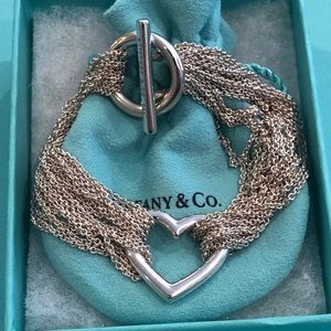 Authentic Tiffany & Co. Multi Chain Heart Bracelet
